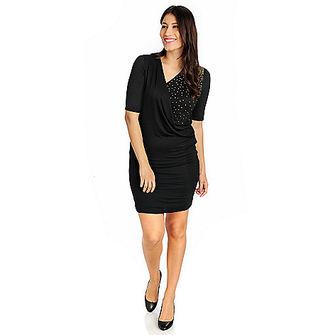 714-741 - Glitterscape® Stretch Knit Elbow Sleeved Studded Shoulder Faux Wrap Dress