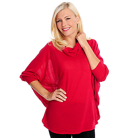 714-756 - Kate & Mallory Sweater Knit Dolman Sleeved Cowl Neck Pullover Top