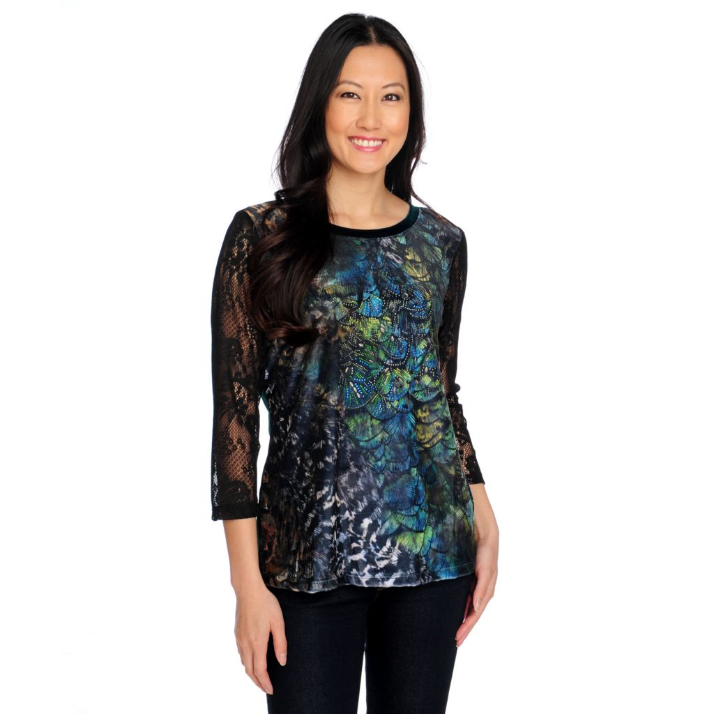 714-758 - Glitterscape Printed Velvet Lace 3/4 Sleeved Scoop Neck Embellished Top