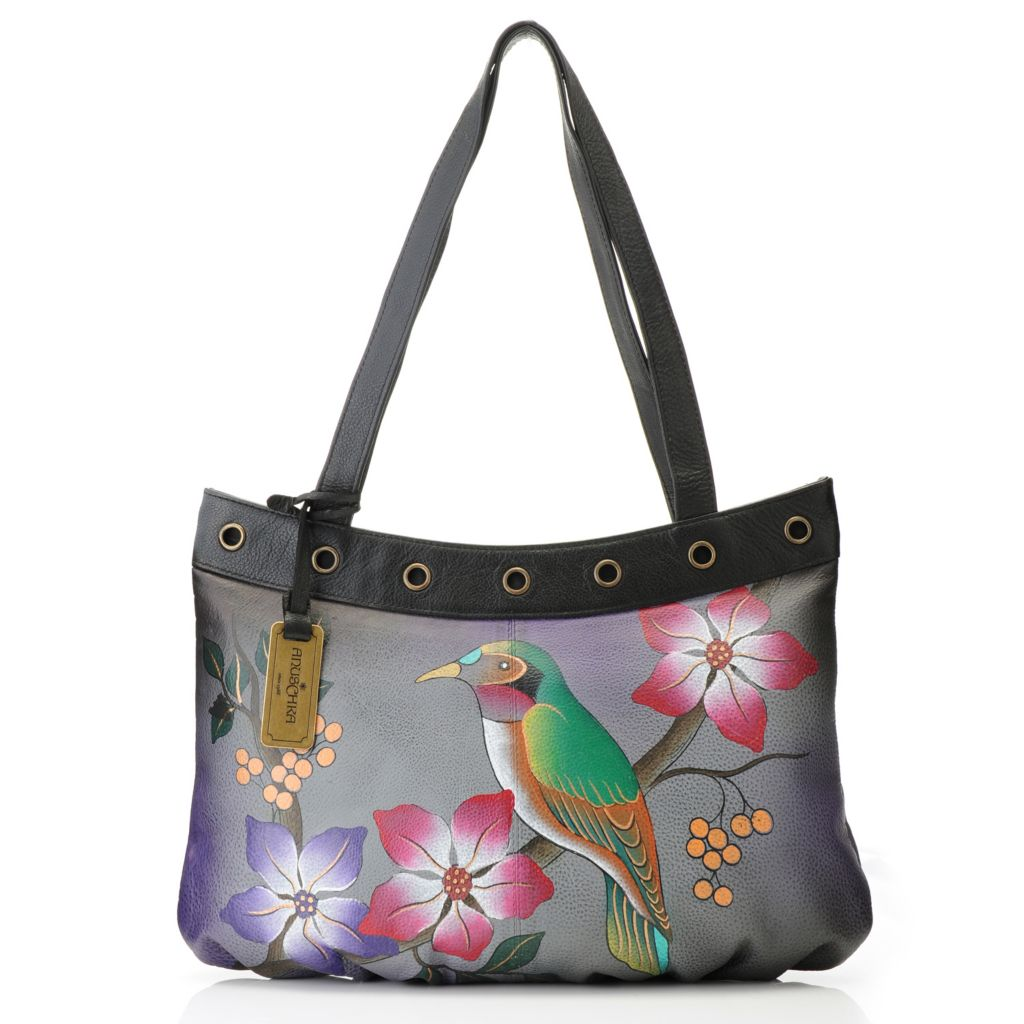 714-763 - Anuschka Hand-Painted Leather Zip Top Grommet Detailed Wide Tote Bag