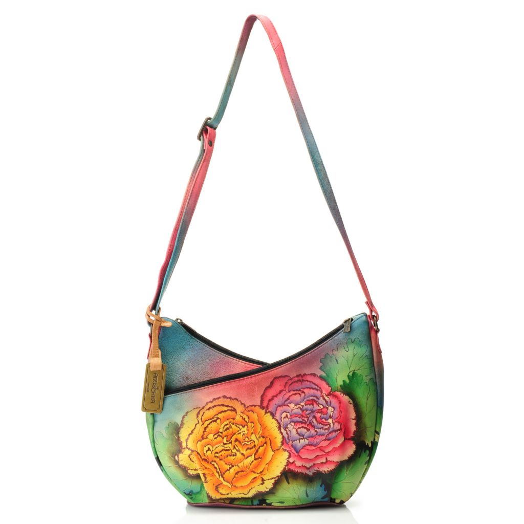 714-764 - Anuschka Hand-Painted Leather Crisscross U-Top Convertible Hobo Handbag