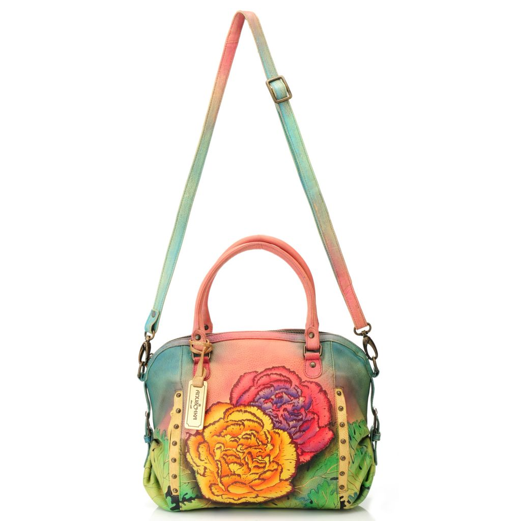 714-765 - Anuschka Hand-Painted Leather Zip Top Satchel w/ Shoulder Strap