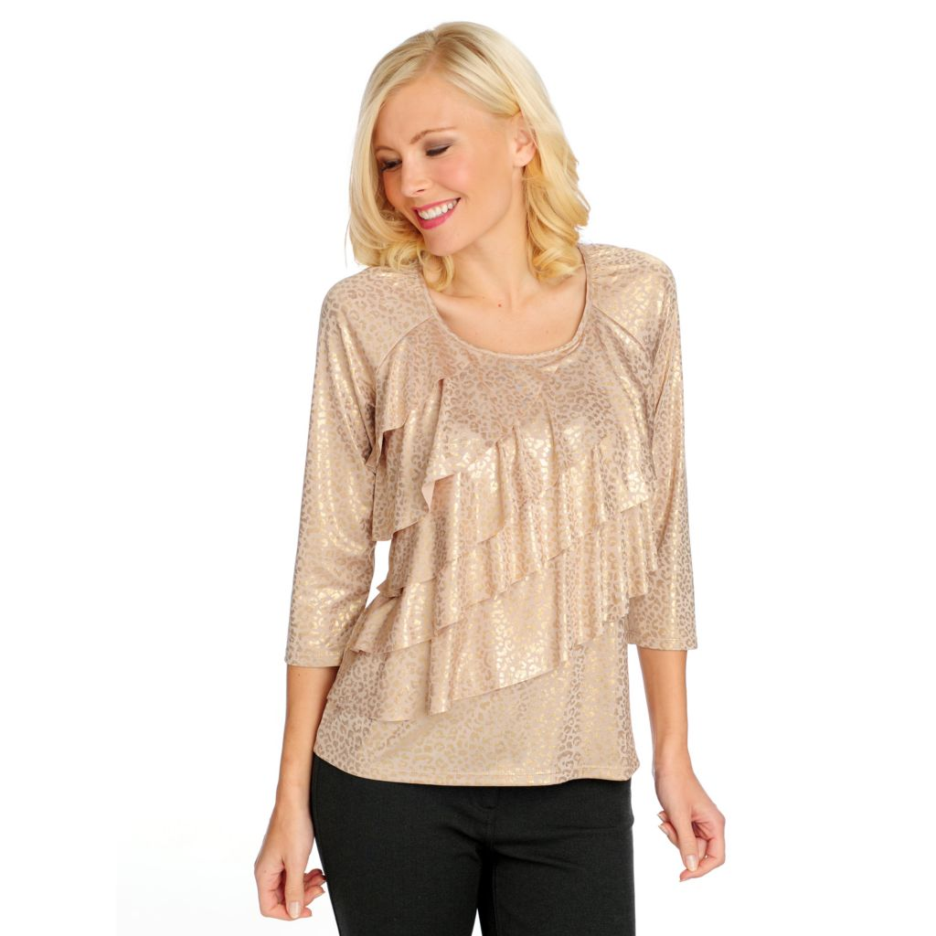 714-768 - Glitterscape Stretch Knit 3/4 Sleeved Metallic Print Ruffle Top