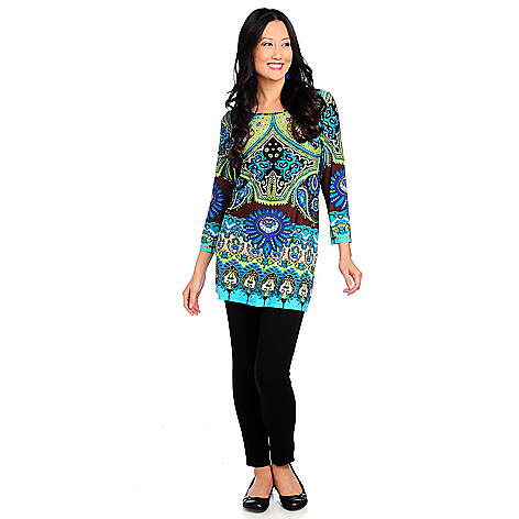 714-779 - Kate & Mallory Stretch Knit 3/4 Sleeved Printed Tunic & Leggings Set