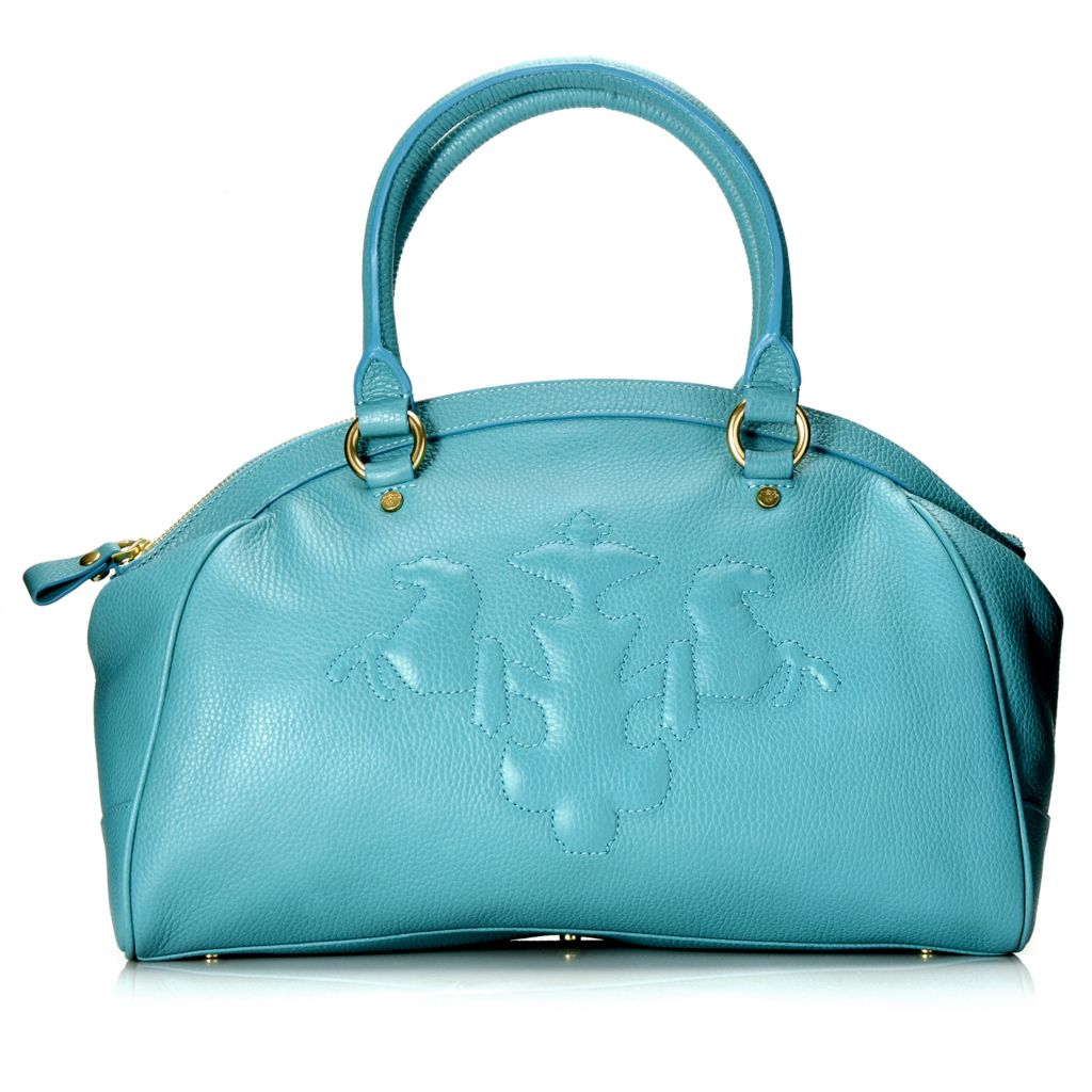 714-783 - PRIX DE DRESSAGE Pebbled Leather Double Handle Zip Top Dome Satchel