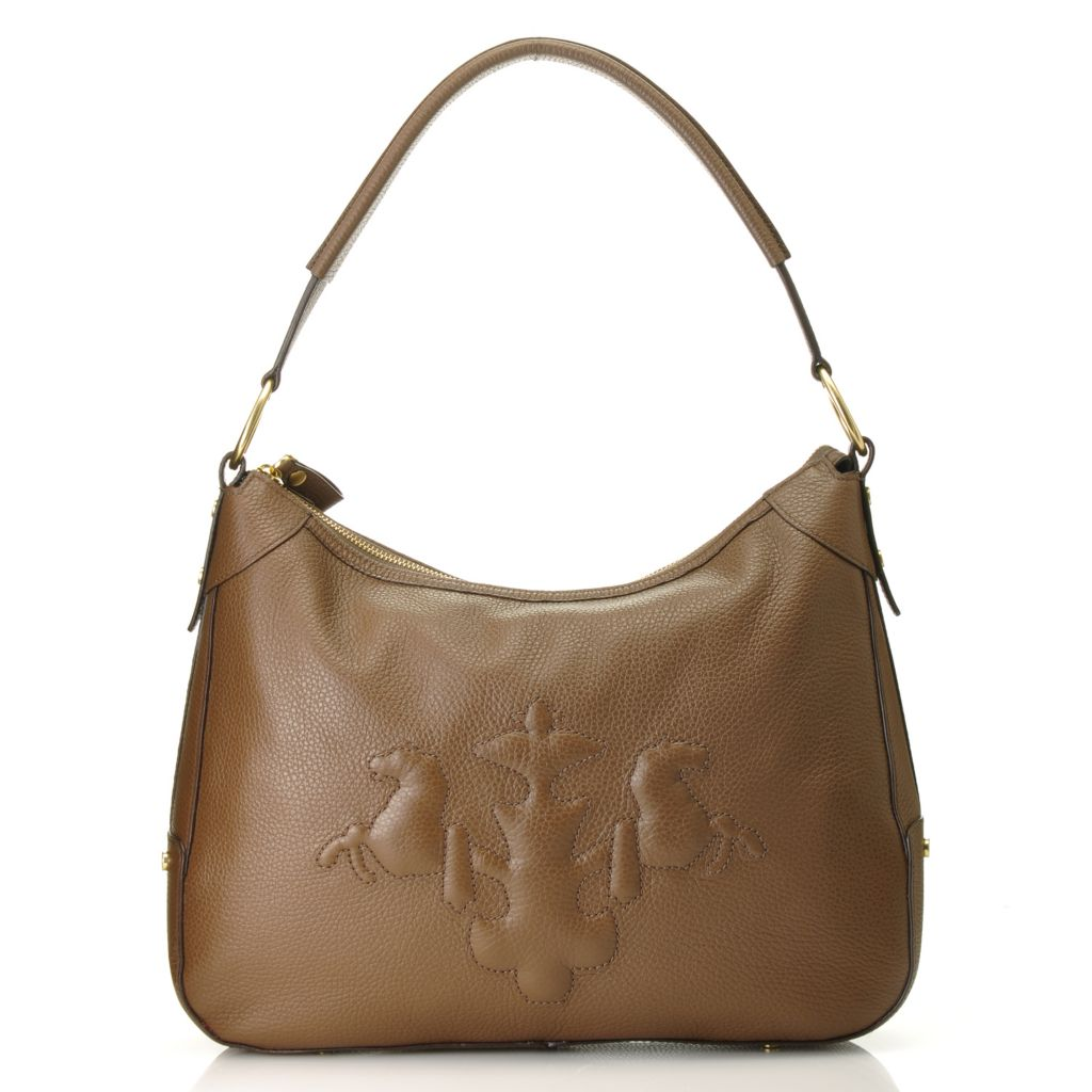 714-784 - PRIX DE DRESSAGE Leather Zip Top Trapunto Stitched Logo Hobo Handbag