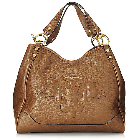 714-785 - PRIX DE DRESSAGE Leather Double Handle Hobo Handbag w/ Shoulder Strap