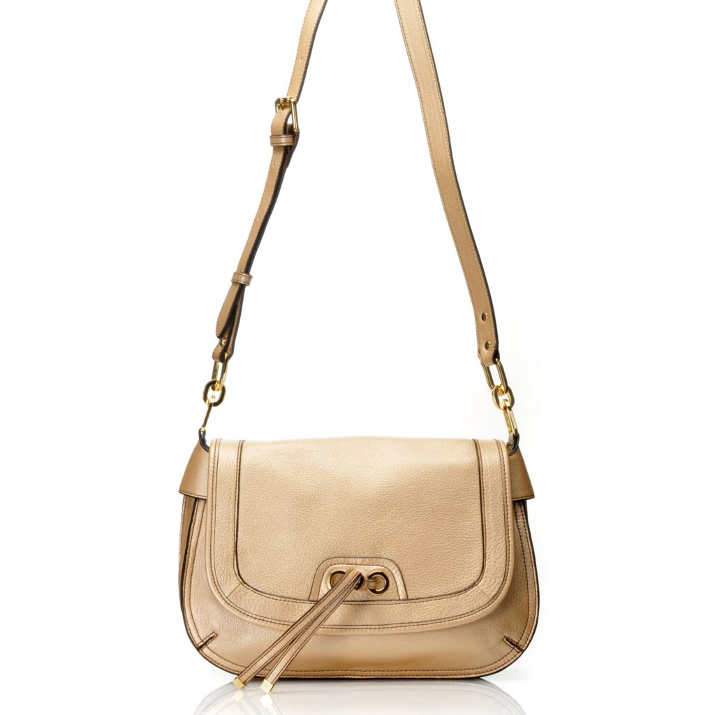 714-799 - Perlina New York Pebbled Leather Flap-Over Cross Body Bag