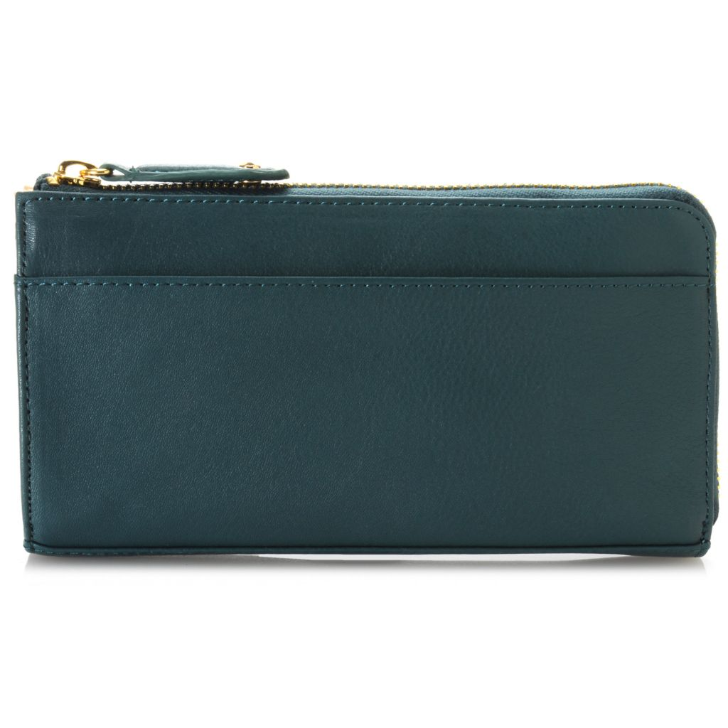 714-810 - Perlina New York Smooth Leather Stud Detailed Zip Around Wallet