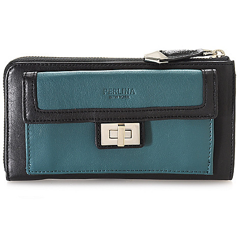 714-811 - Perlina New York Smooth Leather Turn Lock Detailed Front Pocket Zip Around Wallet