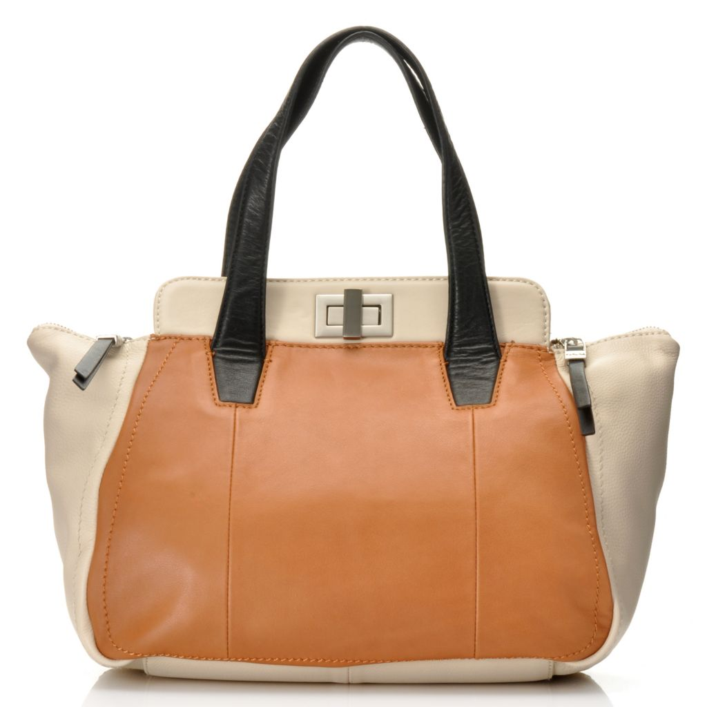 714-813 - Perlina New York Leather Double Handle Tapered Turn Lock Satchel w/ Shoulder Strap