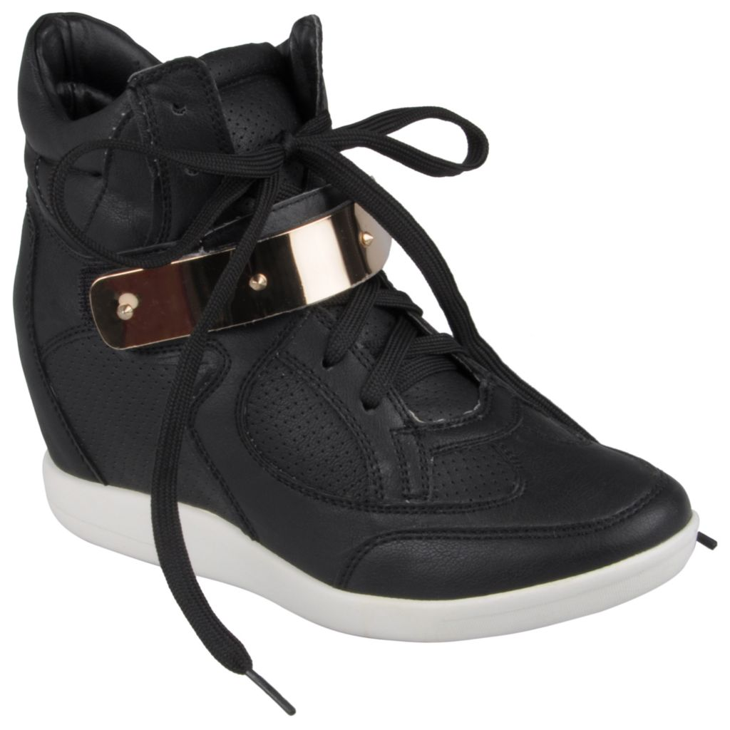 714-847 - Hailey Jeans Co. Women's Lace-up Wedge High Top Multi Texture Sneakers