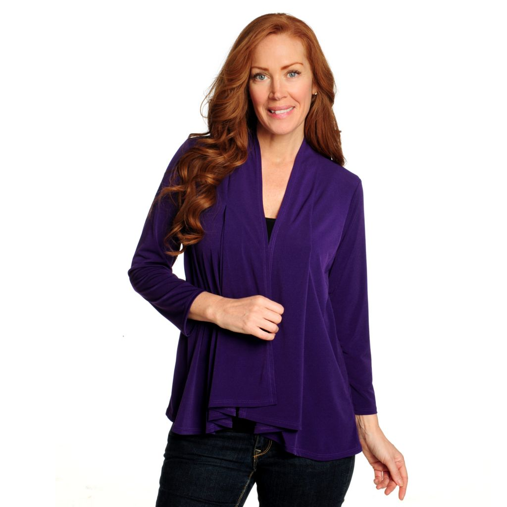 714-858 - Kate & Mallory Stretch Knit 3/4 Sleeved Princess Seam Open Cardigan