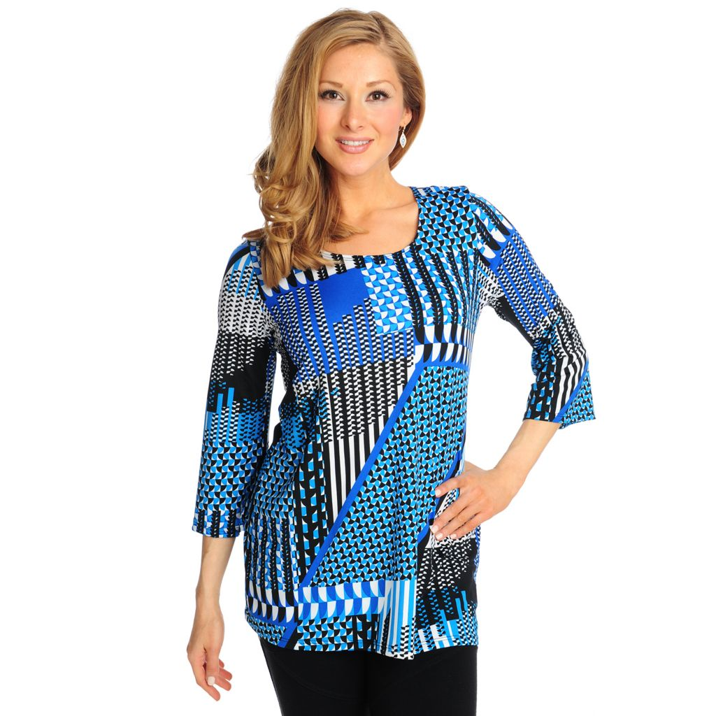 714-860 - Kate & Mallory Stretch Knit 3/4 Sleeved Scoop Neck Printed Top