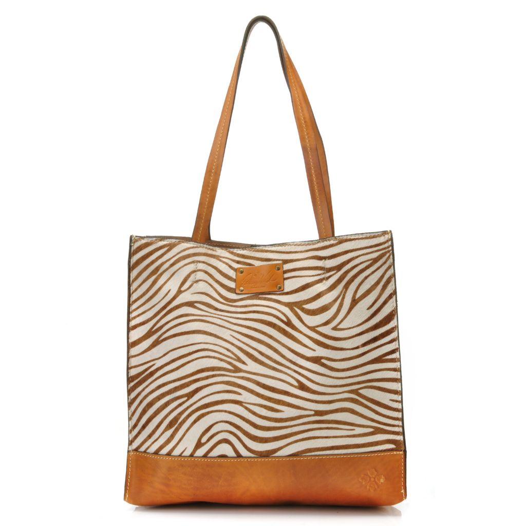 714-861 - Patricia Nash Leather & Zebra Printed Calf Hair Double Handle Tote Bag