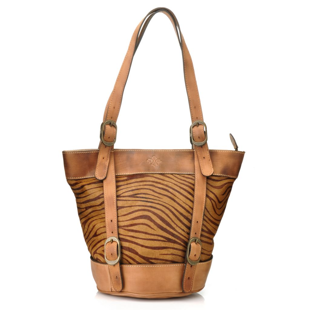 714-862 - Patricia Nash Leather & Calf Hair Zip Top Double Handle Bucket Tote Bag