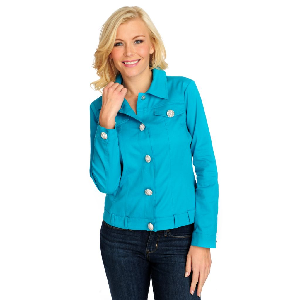 714-863 - OSO Casuals Stretch Twill Long Sleeved Embellished Button Jacket