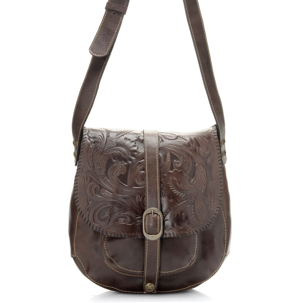 714-873 - Patricia Nash Tooled Leather Flap Over Cross Body Saddle Bag