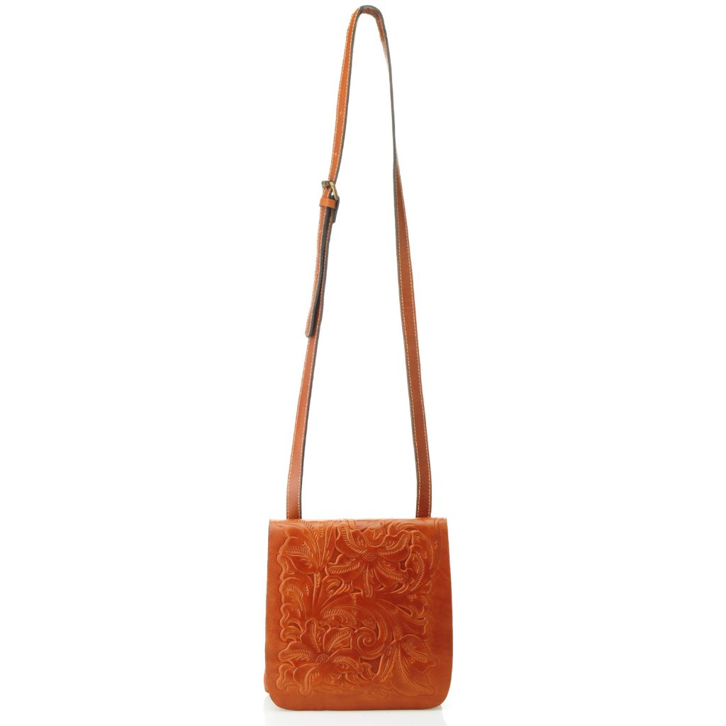 714-877 - Patricia Nash Tooled Leather Flap Over Cross Body Bag