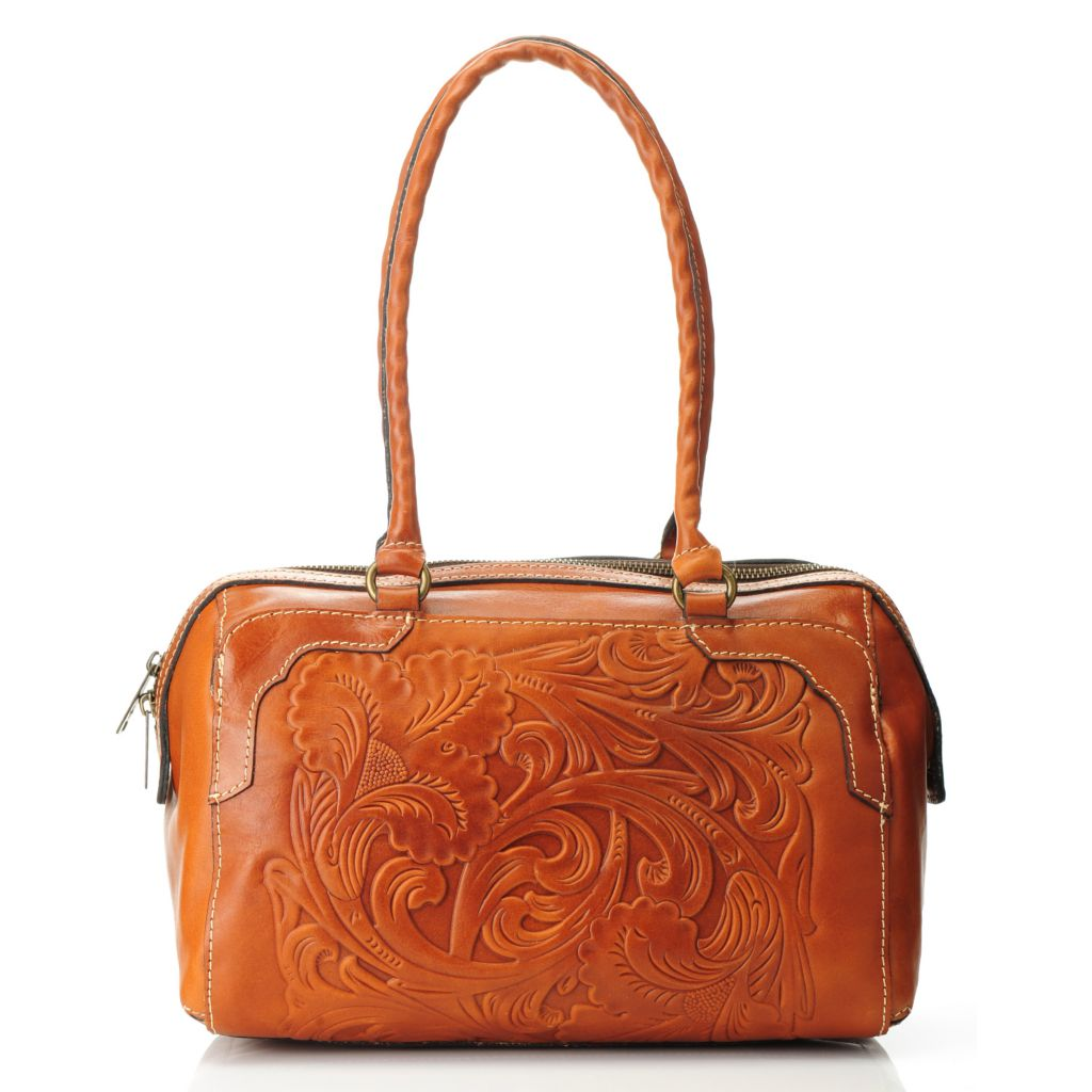 714-878 - Patricia Nash Tooled Leather Double Handle Zip Top Satchel