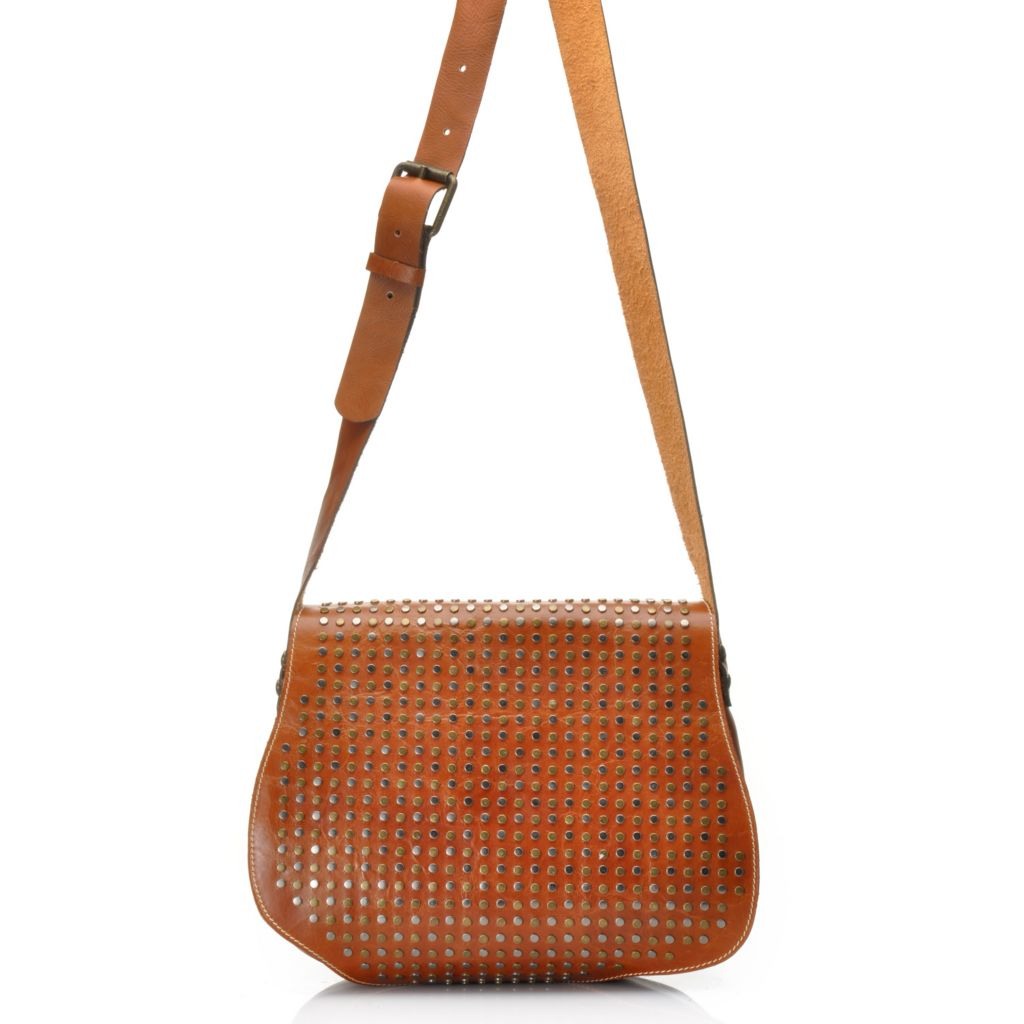 714-879 - Patricia Nash Leather Studded & Scalloped Flap Over Cross Body Bag