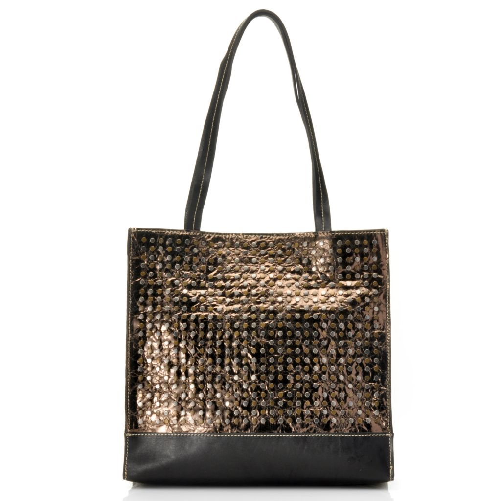 714-880 - Patrica Nash Leather Double Handle Studded Tote Bag