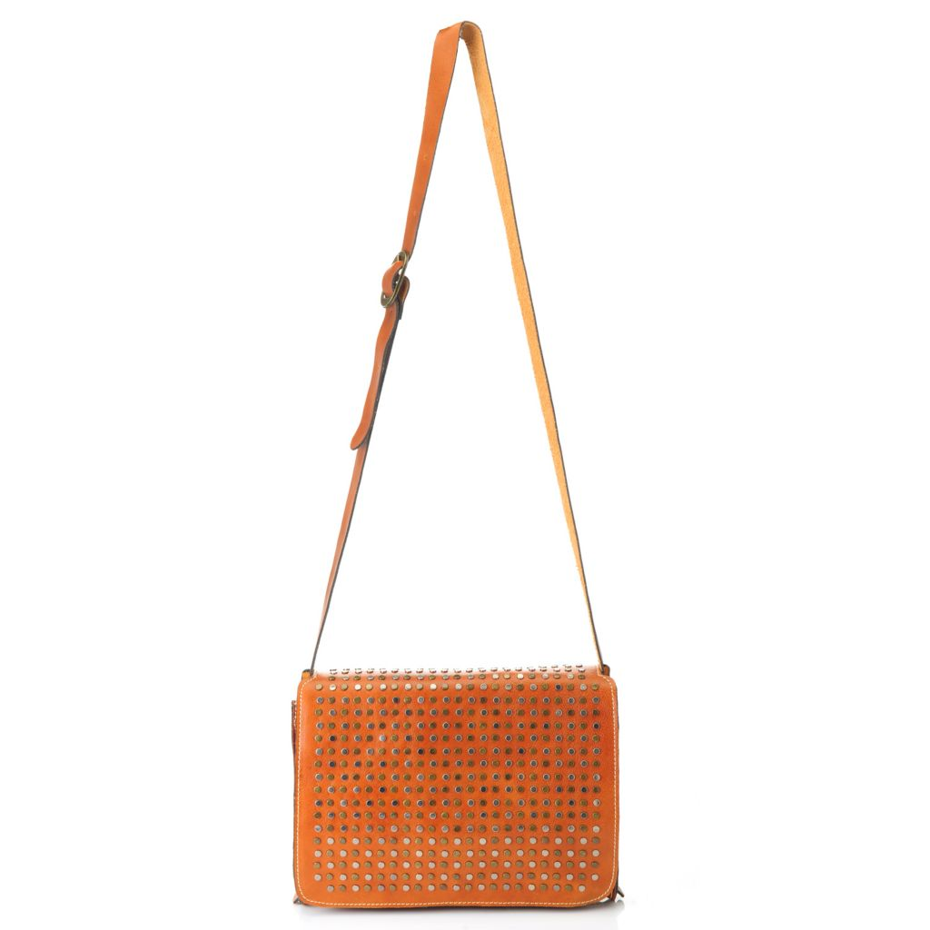 714-881 - Patricia Nash Leather Studded Flap-over Cross Body Bag