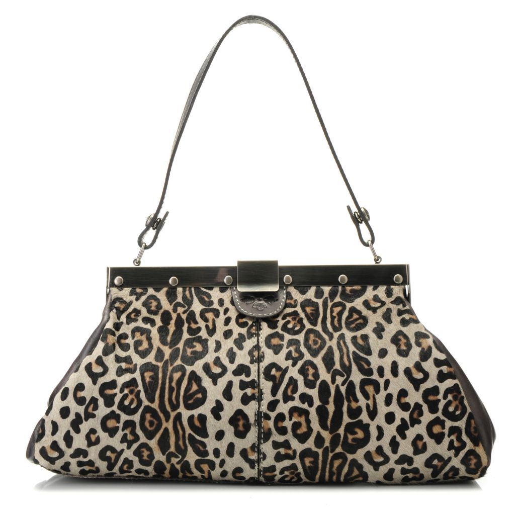 714-882 - Patricia Nash Leather & Leopard Printed Calf Hair Convertible Frame Satchel