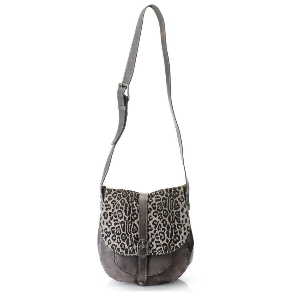 714-883 - Patricia Nash Leather & Leopard Printed Calf Hair Cross Body Saddle Bag