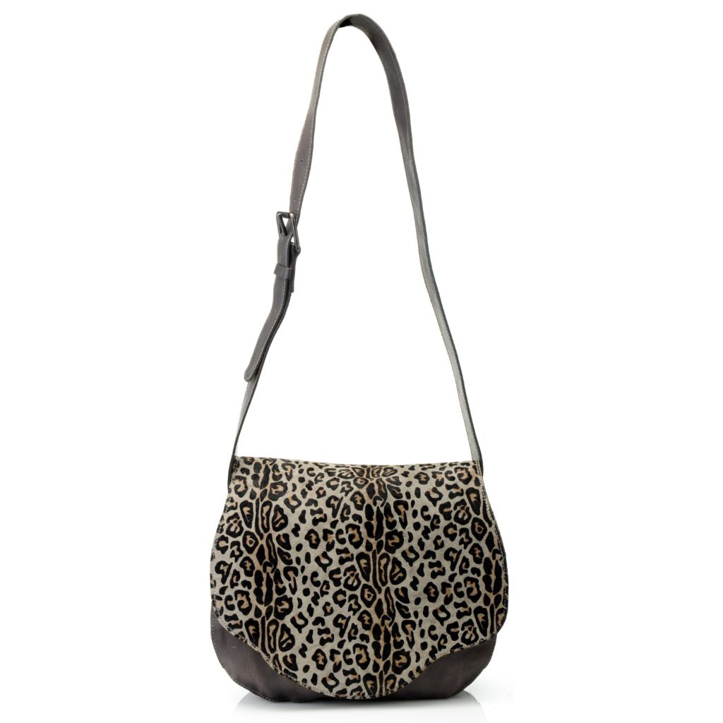 714-884 - Patricia Nash Leather & Leopard Printed Calf Hair Scalloped Flap Cross Body Bag