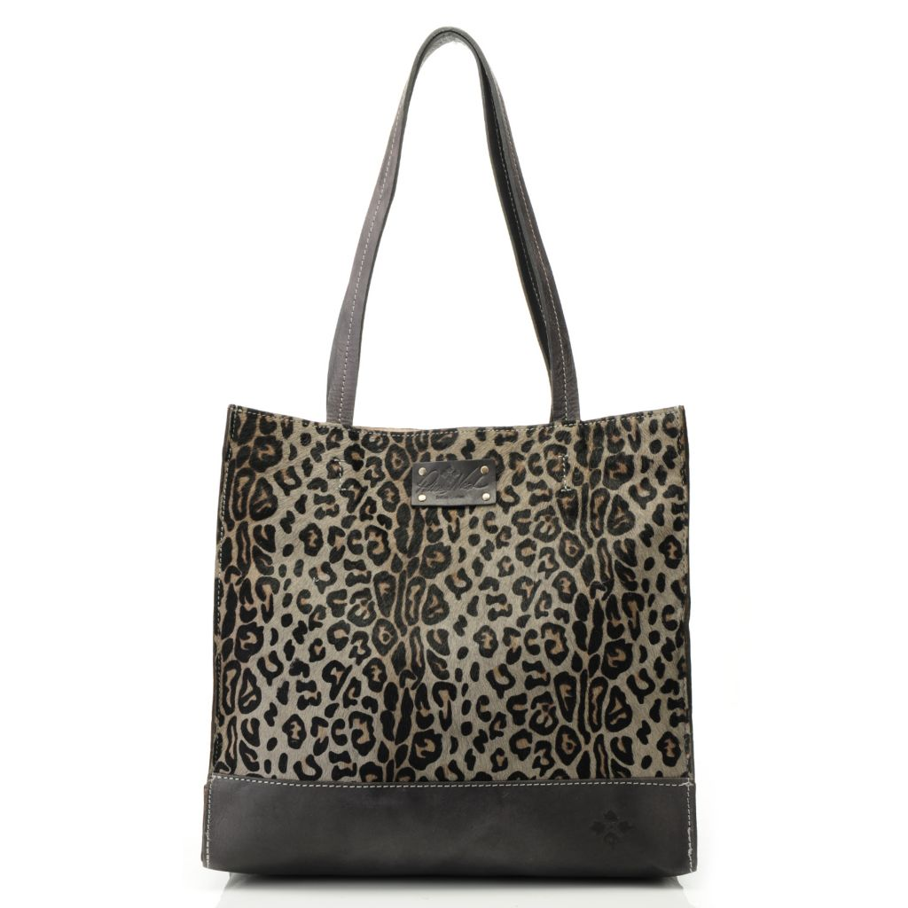 714-885 - Patricia Nash Leather & Leopard Printed Calf Hair Double Handle Tote Bag