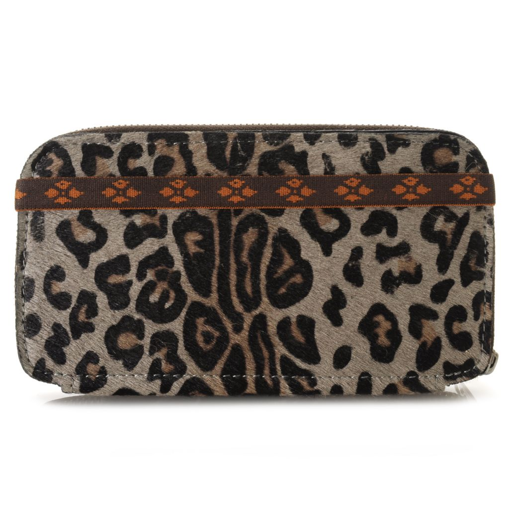 714-886 - Patricia Nash Leather & Leopard Printed Calf Hair Zip Around Wallet