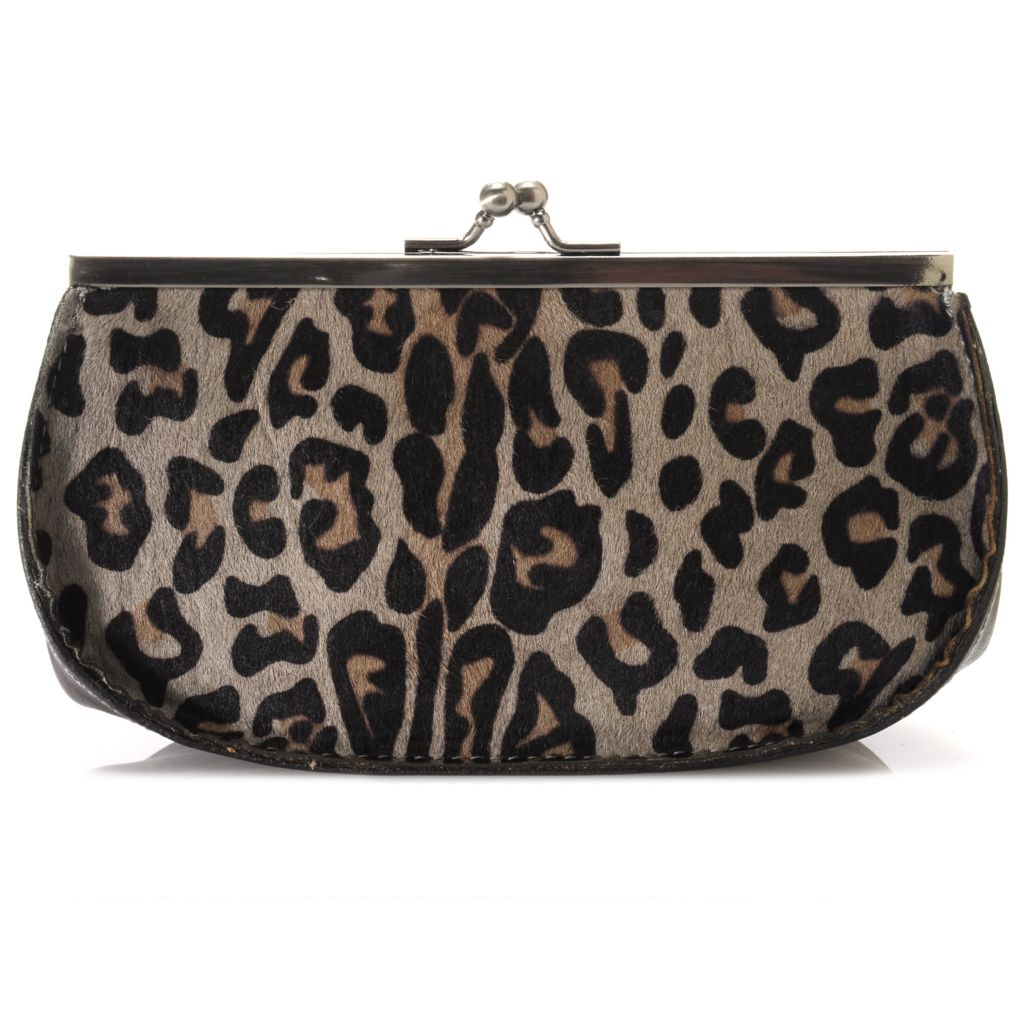 714-887 - Patricia Nash Leather & Leopard Printed Calf Hair Framed Kiss Lock Clutch Wallet