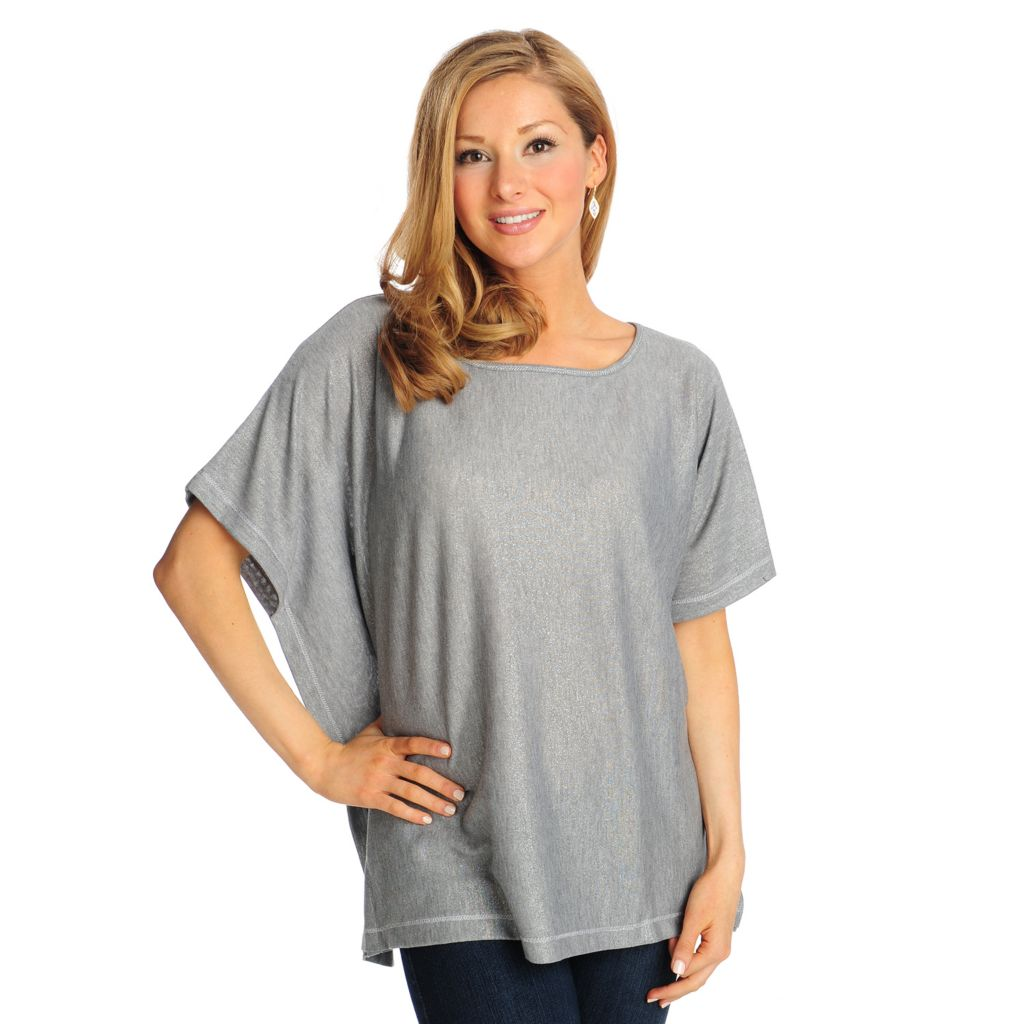 714-954 - Love, Carson by Carson Kressley Metallic Knit Scoop Neck Poncho Top