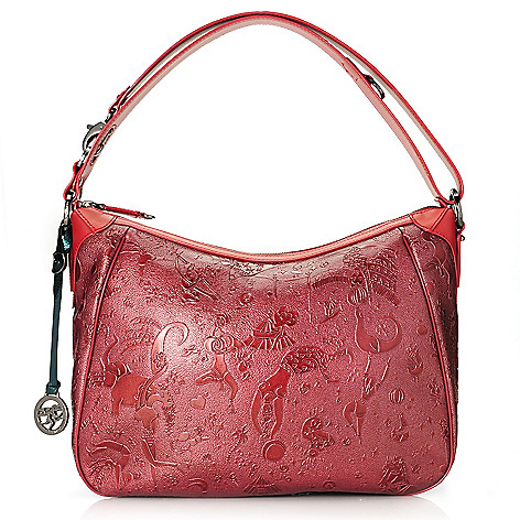 714-992 - Piero Guidi Embossed Magic Circus Golden Age Collection Hobo Handbag
