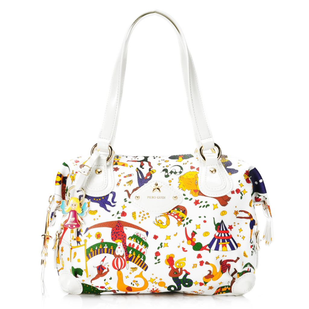 714-994 - Piero Guidi Soft Coated Canvas & Patent Magic Circus Collection Zip Top Tote Bag