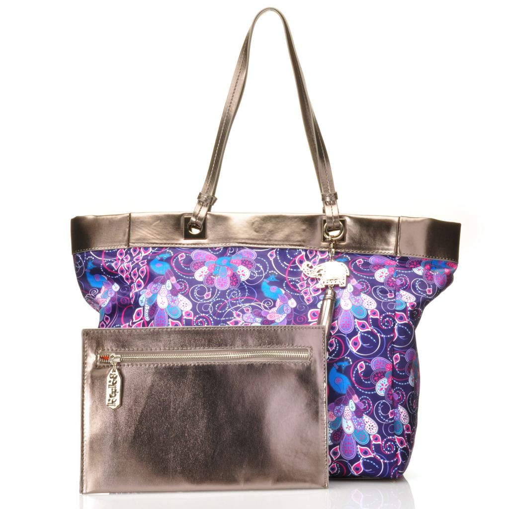 715-002 - BollyDoll™ Printed Double Handle Tote Bag w/ Removable Zip Pocket