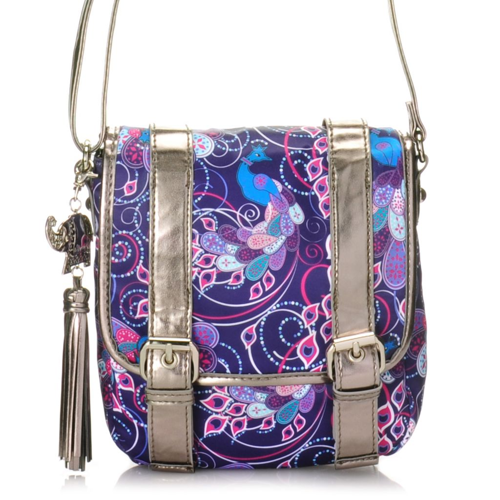 715-003 - BollyDoll™ Printed Flap Over Buckle Detailed Cross Body Bag