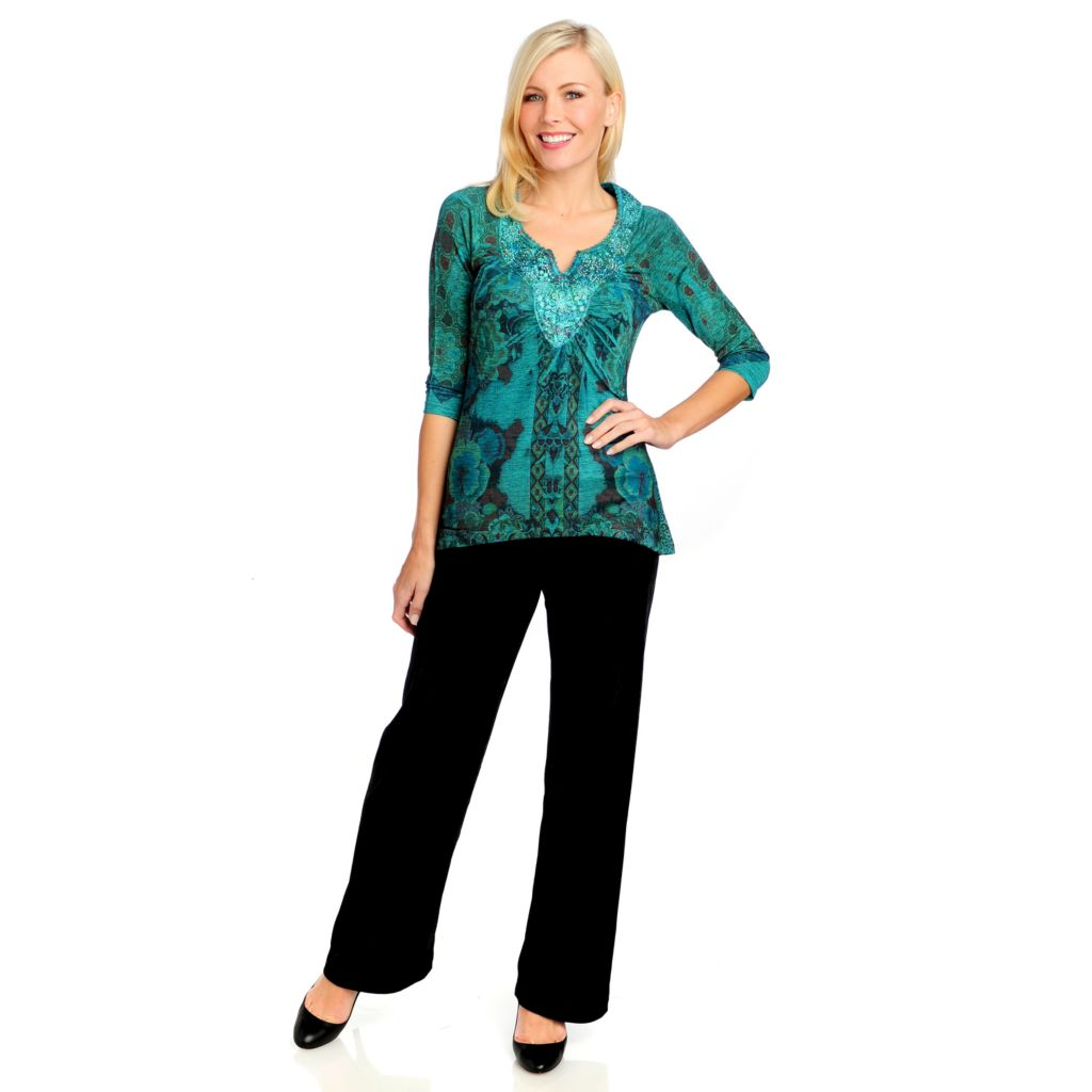 715-004 - One World Printed Knit 3/4 Sleeved Embellished Tunic & Velvet Pants Set