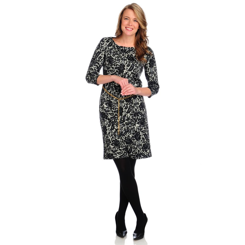 715-009 - Kate & Mallory Printed Knit 3/4 Sleeved Chain Belt Shift Dress