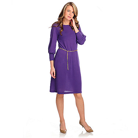 715-010 - Kate & Mallory Stretch Knit 3/4 Sleeved Chain Belt Sweater Dress