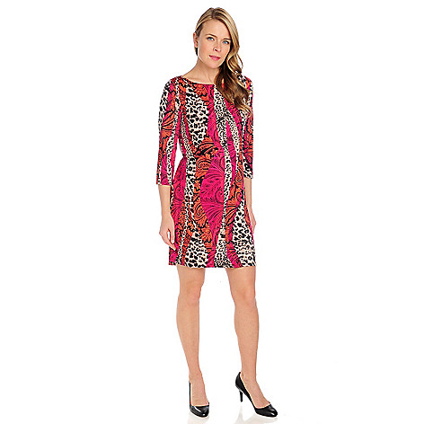 715-012 - Kate & Mallory Stretch Knit 3/4 Sleeved Boat Neck Printed Dress