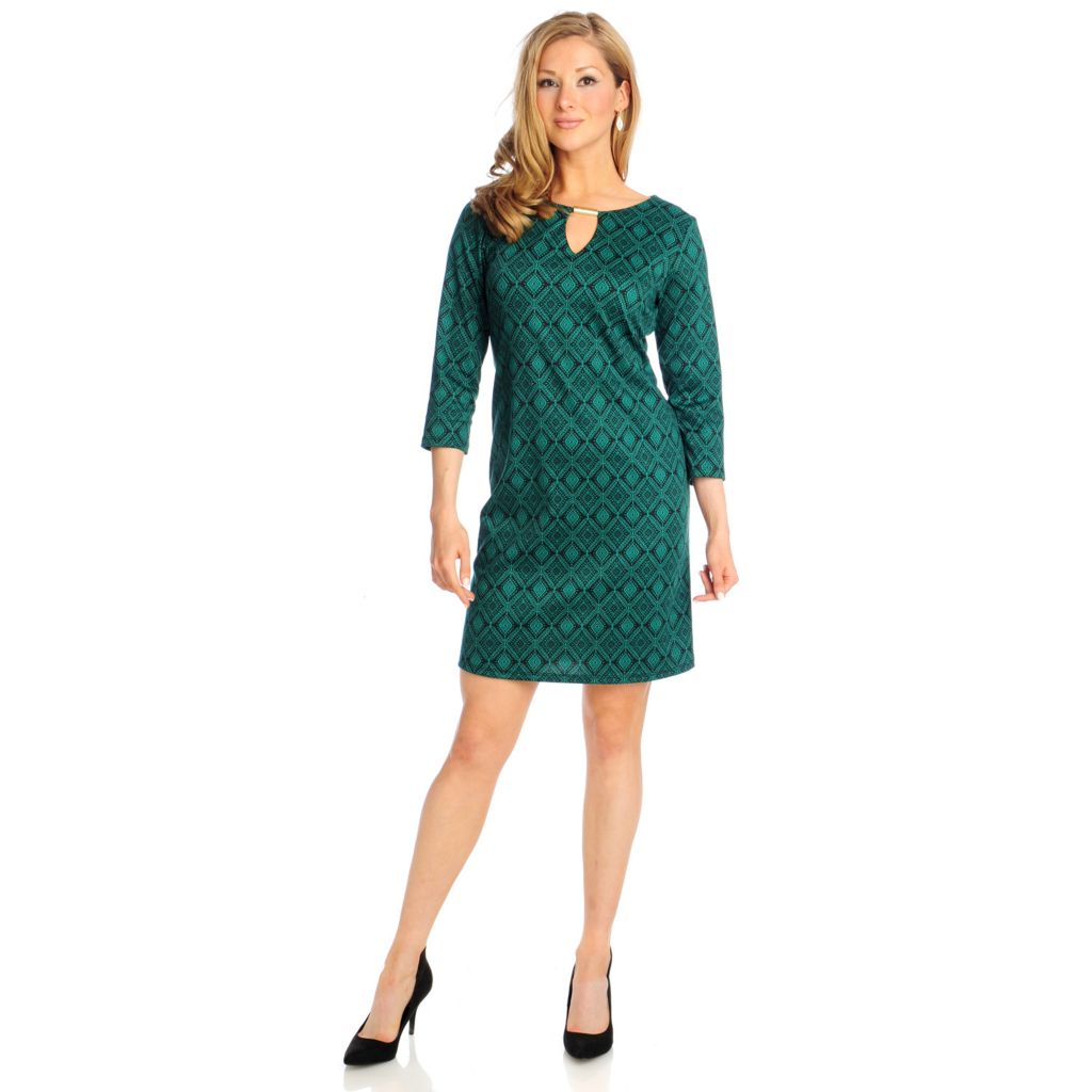 715-014 - Kate & Mallory Ponte Knit 3/4 Sleeved Keyhole Neckline Printed Dress