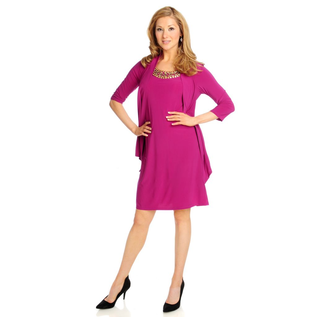 715-017 - Kate & Mallory Stretch Knit 3/4 Sleeved Embellished Dress w/ Faux Jacket
