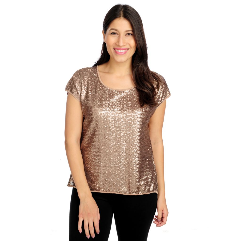 715-019 - WD.NY Sequined Mesh Short Sleeved Fully Lined Side Zip Top