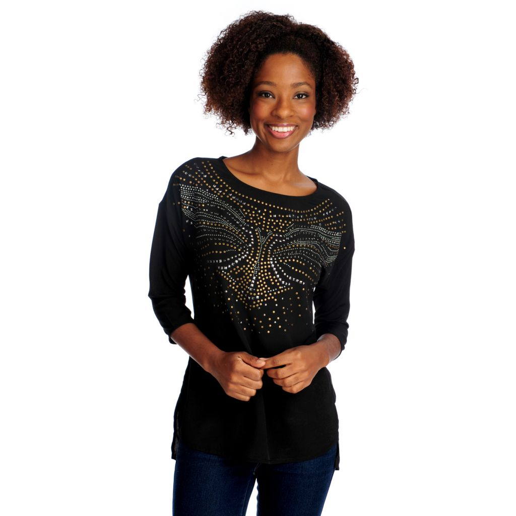 715-020 - WD.NY Crepe Drop Shoulder Embellished Front Hi-Lo Top