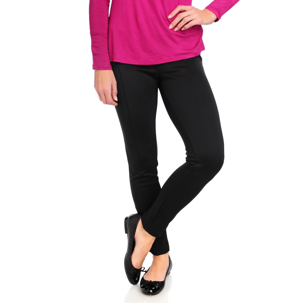 715-023 - WD.NY Stretch Knit Seamed Side Panel Full Length Scuba Leggings