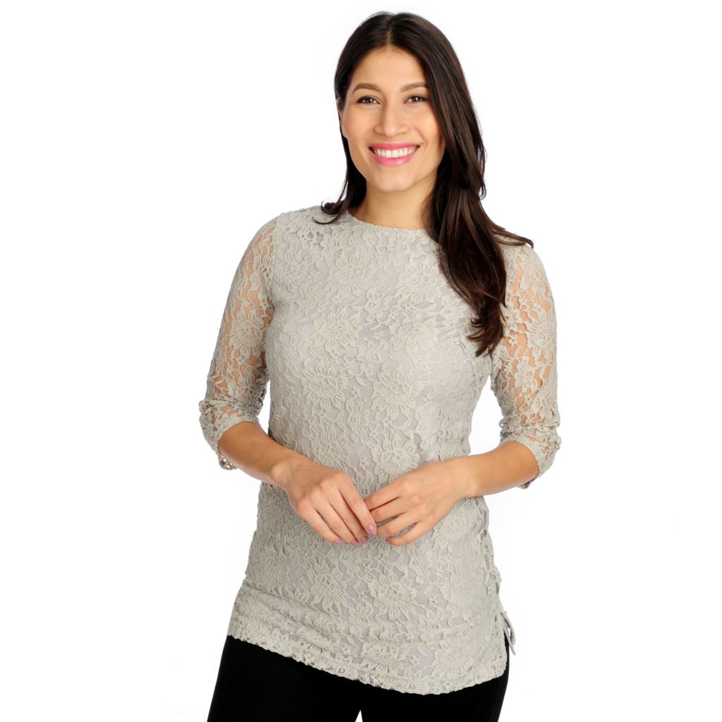 715-025 - WD.NY Lace 3/4 Sleeved Knit Lined Zip Back Tunic