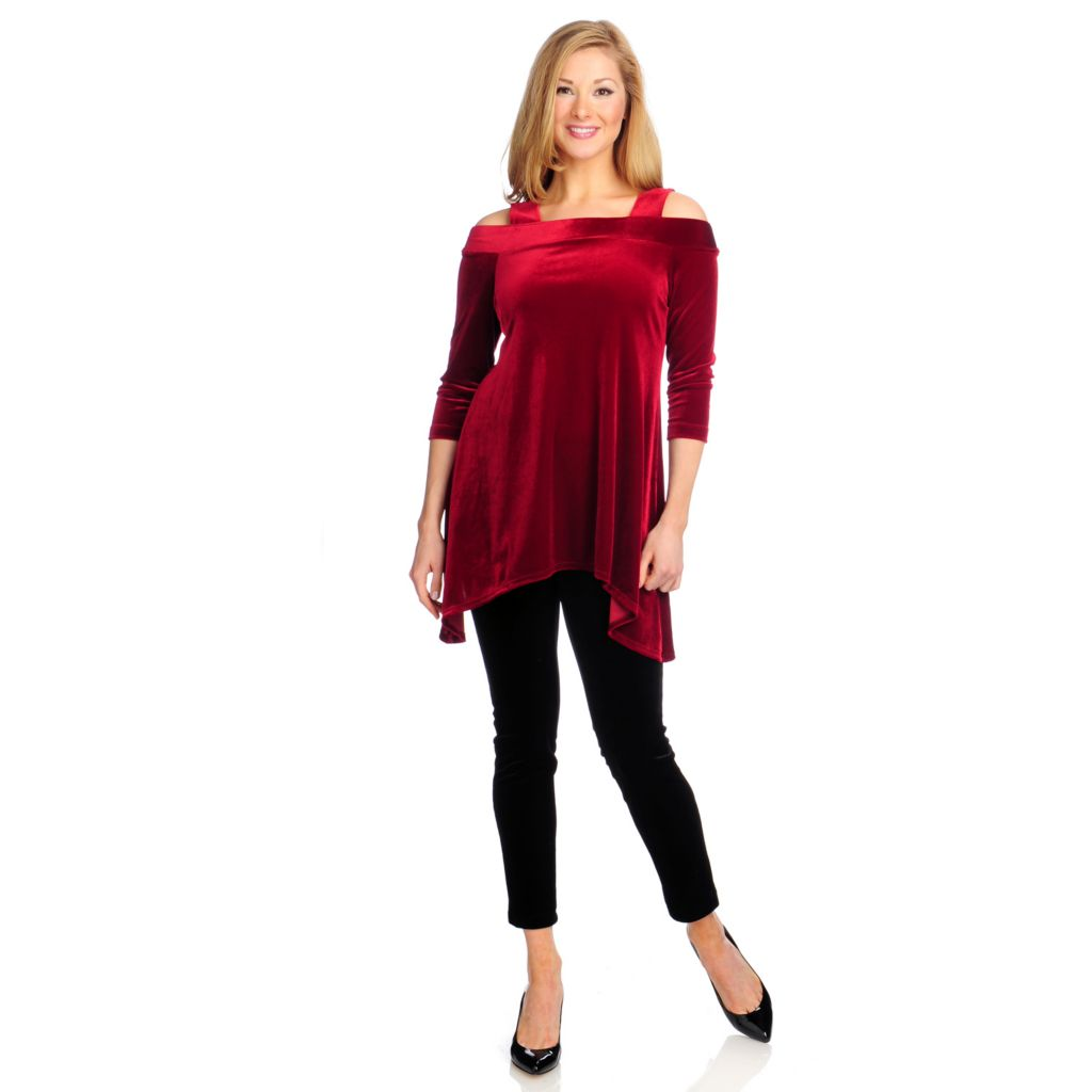 715-027 - Kate & Mallory Stretch Velvet Cold Shoulder Sharkbite Tunic & Leggings Set