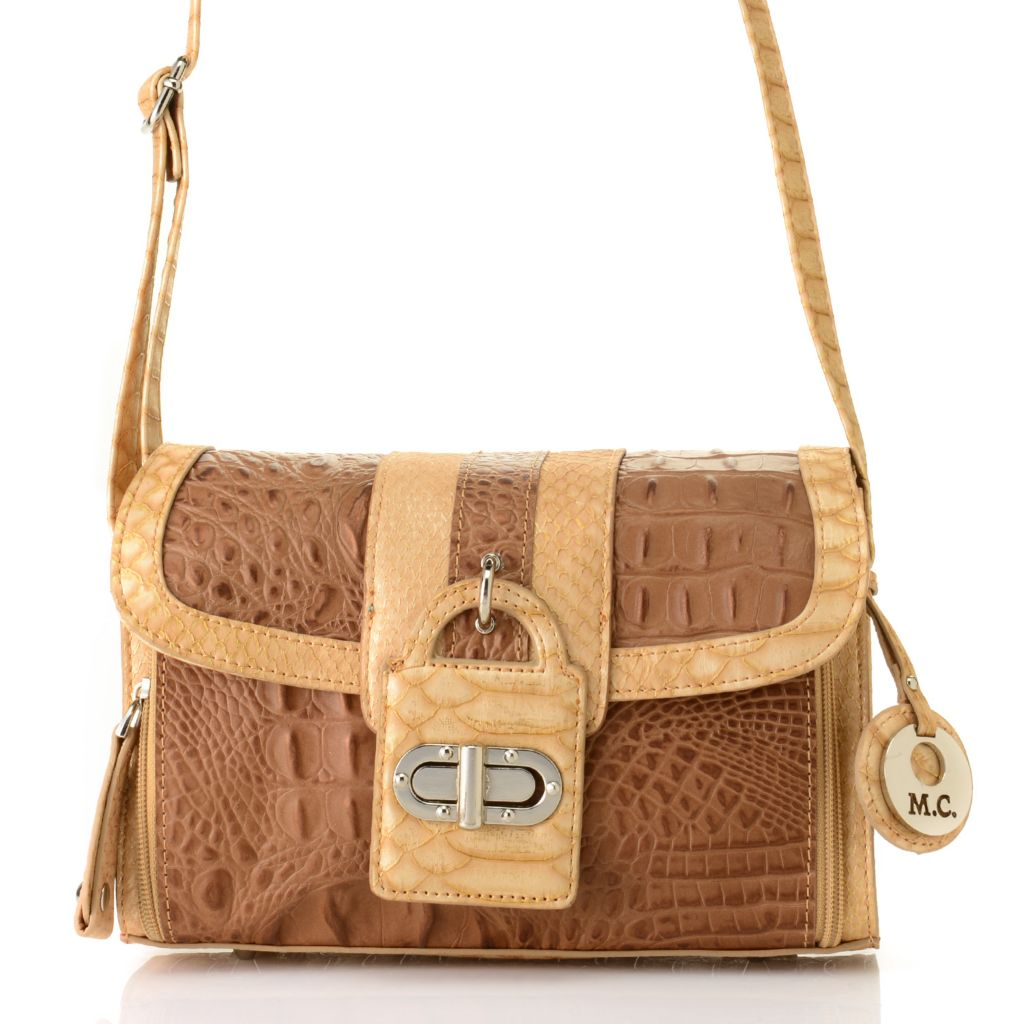 715-033 - Madi Claire Croco Embossed Pearlized Leather Organizer Cross Body Bag
